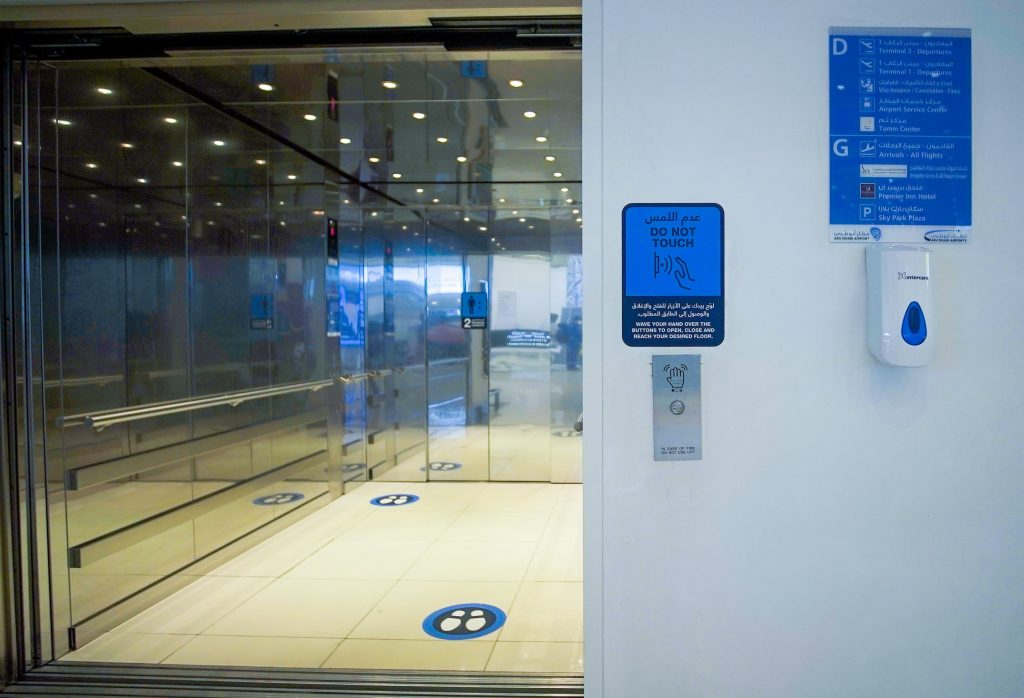 Abudhabi airport touch-less elevators